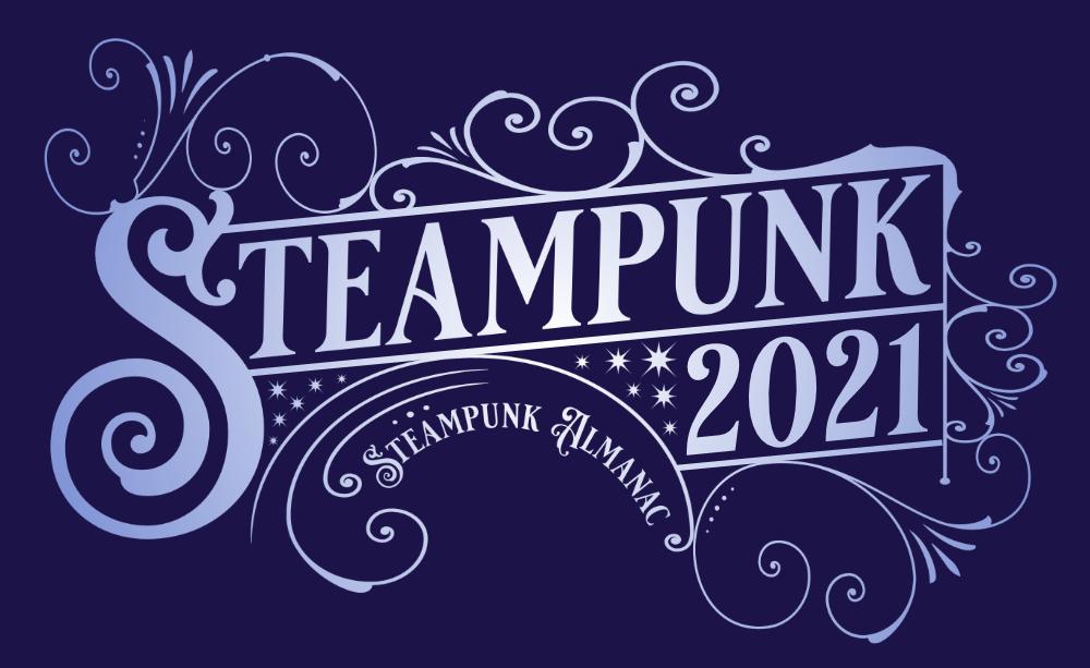 Steampunk 2021 logo blue and white